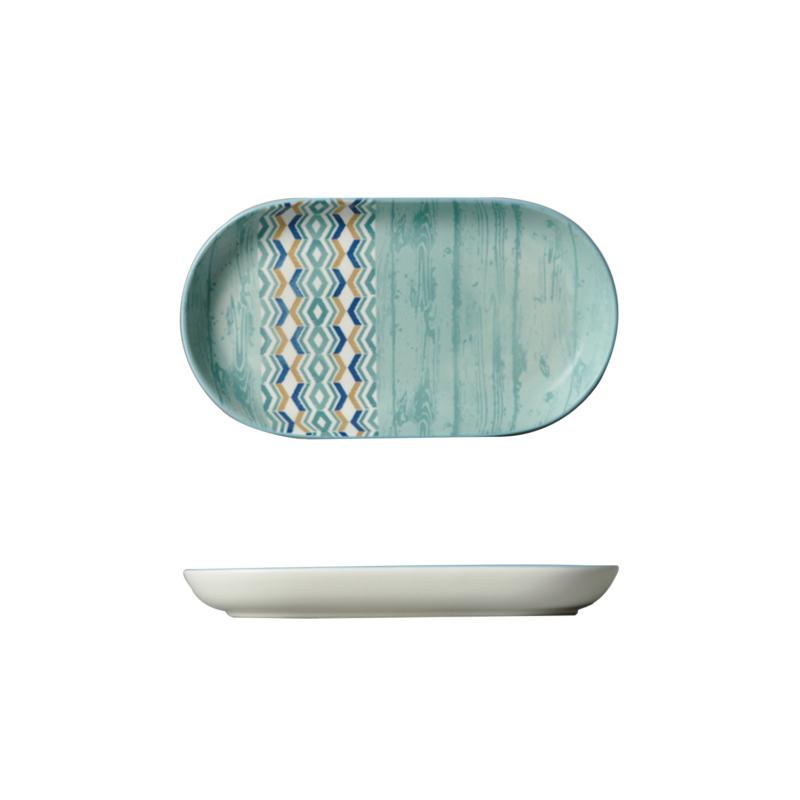Modern díszítésű ovális porcelán tálaló tányér