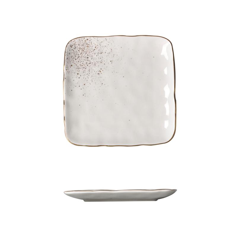 Golden sparkle- aranyozott peremmel díszítettnégyzet alakú tányér