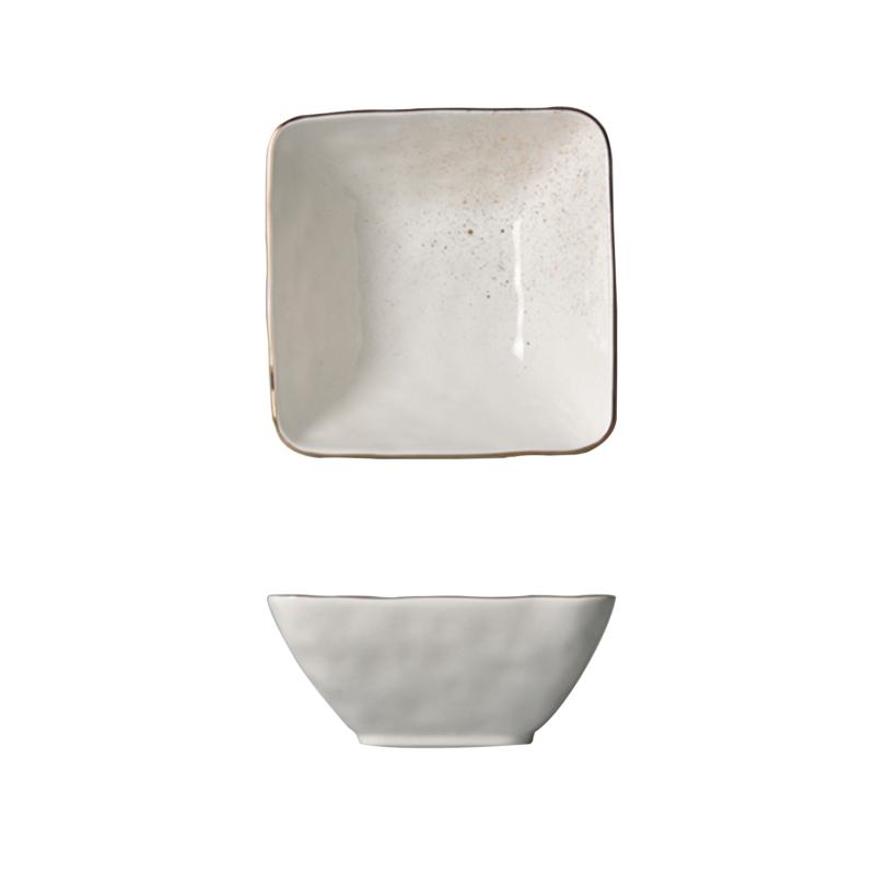 Golden sparkle- aranyozott peremmel díszített  leveses tányér (Négyzet alakú)