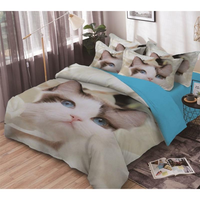3 részes Macic eye Kitten, zafír szemű cica 3d-s pamut ágyneműhuzat