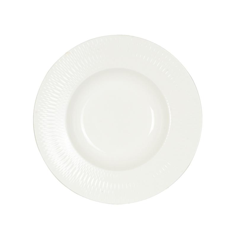 Fancy - Fodros szélű fehér leveses tányér